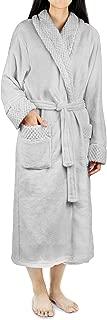 Deluxe Women Fleece Robe with Satin Trim   Luxurious Plush Spa Bathrobe Waffle Design