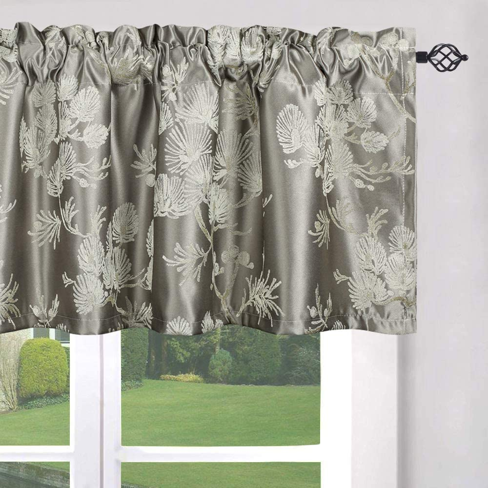 Leeva Trees Jacquard Vintage Style Window Curtians Valances Purple Luxury Blackout Rod Pocket Small Kitchen Drapes and Valance for Bedroom Kids Room One Panel 52x18 Inch