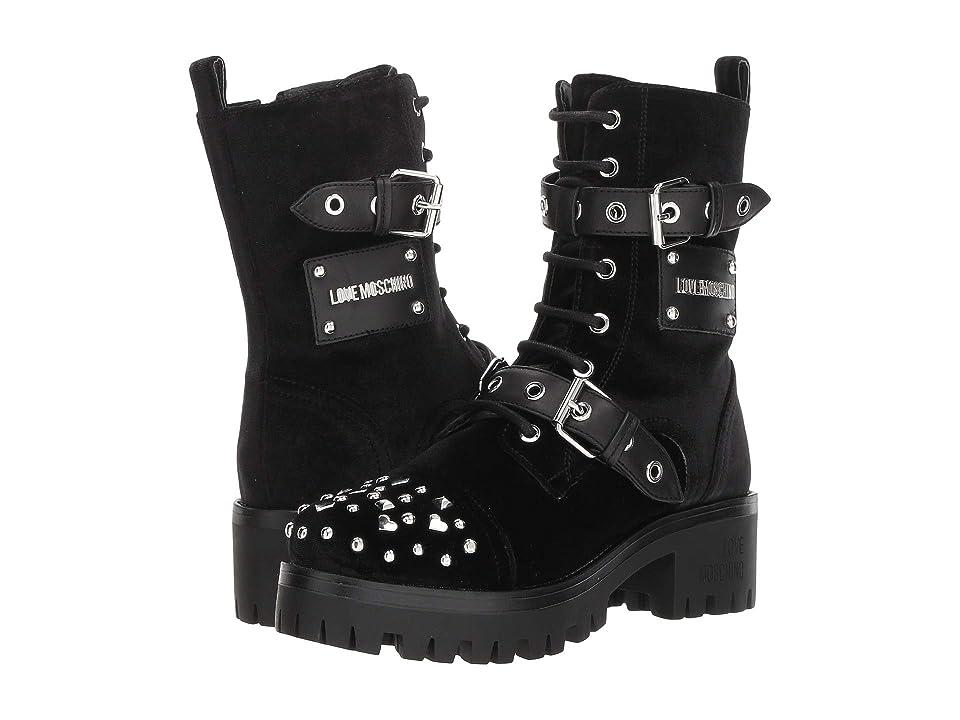 LOVE Moschino Buckle Ankle Boot (Black Velvet) Women