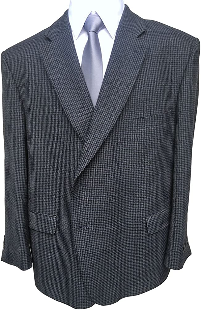 Jean-Paul Germain 56 Short Portly Big and Tall Blue Micro Check Sport Jacket