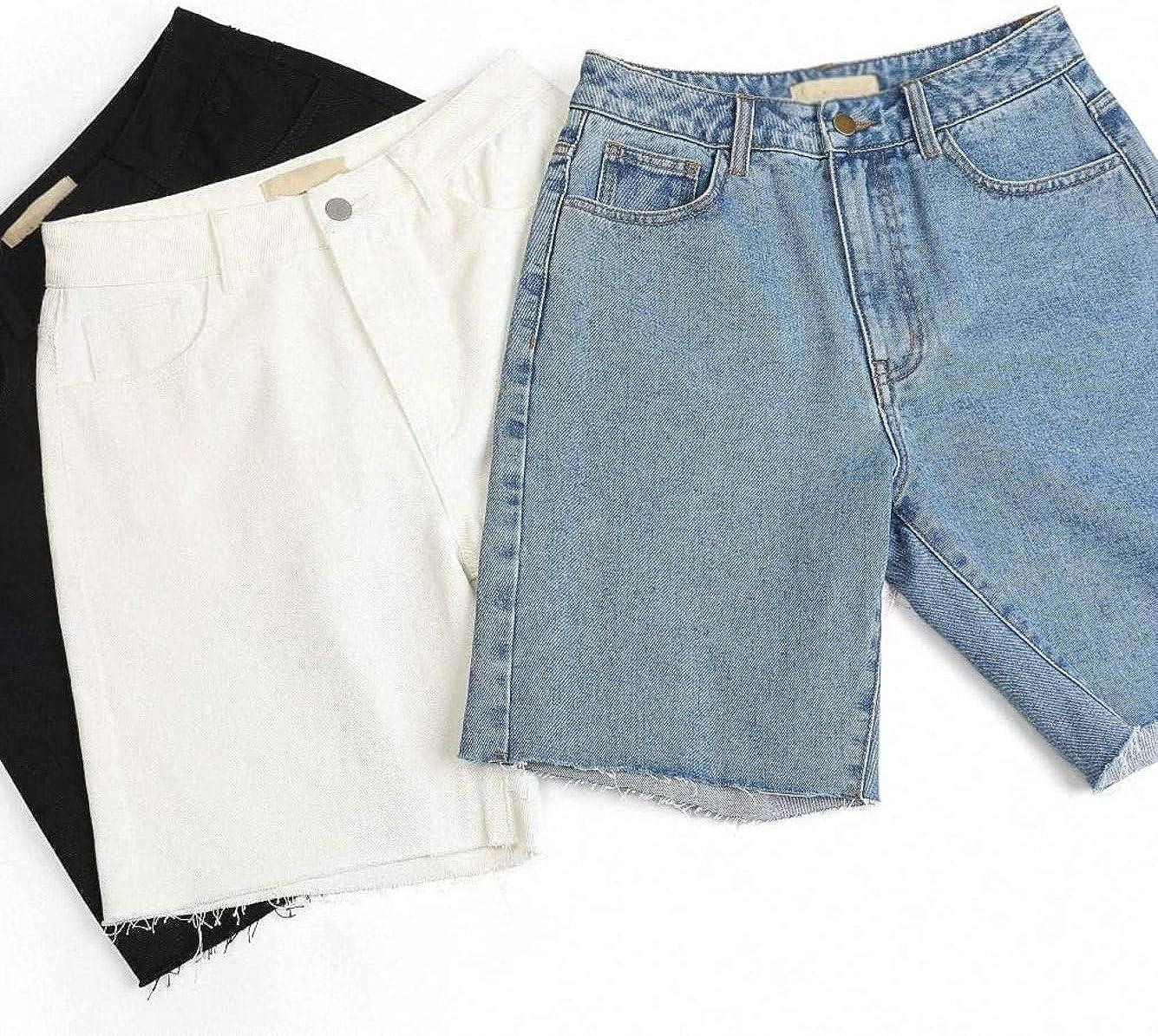 Rsqsjgkert Blue High Waist Casual Denim Shorts Women Spring Pure Wide Leg Straight Ladies Daily Bottom