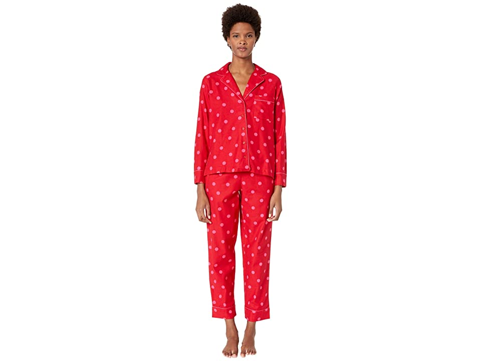 Kate Spade New York Brushed Twill Long Pajama Set (Contrast Dot) Women