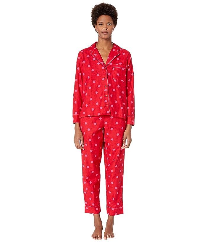 Kate Spade New York Brushed Twill Long Pajama Set (Contrast Dot) Women