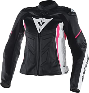 Dainese Avro D1 Womens Leather Motorcycle Jacket Black/White/Fuchsia Pink 44 Euro/6 USA