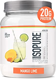"""Isopure Refreshingly Light Fruit Flavored Whey Protein Isolate Powder, """"Shake Vigorously & Infuses in a Minute"""", Mango Lim..."""