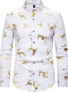 ief.G.S Men's Hipster Gold Rose Printed Slim Fit Long Sleeve Dress Shirts/Prom Performing Christmas Shirts