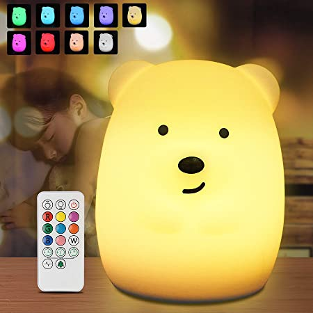 Luce Notte Bambini, Redmoo Luce Notturna Bambini LED Silicone Lampada con Telecomando Tattile Dimmerabile USB Ricaricabile per Camera Letto Campeggio