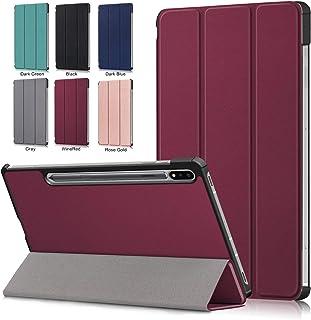【E-COAST】Galaxy Tab S7 Plus 12.4インチ / SM-T970/SM-T975/SM-T976 専用ケース 三つ折り 超薄型 オートスリープ対応 液晶保護フィルム一枚付 (ワインレッド)