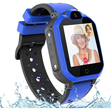 PTHTECHUS 4G GPS Niños Smartwatch Phone, niños y niña Teléfono Reloj Inteligente con SOS 2 vías Chat de Voz y Video Alarma Podómetro WiFi Cámara Inteligente Watch (Azul)