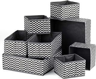 Tobeape® 8 Pack Foldable Cloth Storage Box Closet Underwear Organizer Drawer Divider Basket Bins for Underwear Bras, Gray