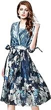 Joy EnvyLand Women 2pcs V-Neck Tunic Flower Casual Cocktail Prom Party Dress