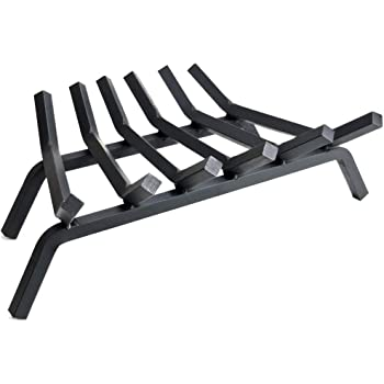 "Fireplace Log Grate 27 inch - 6 Bar Fire Grates - Heavy Duty 3/4"" Wide Solid Steel - For Indoor Chimney Hearth Outdoor Fire Place Kindling Tool Pit Wrought Iron Wood Stove Firewood Burning Rack Holder"