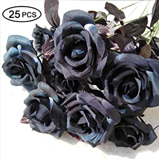 Topgalaxy.Z Artificial Flowers Black Roses, 25pcs Fake Roses w/Stem DIY Wedding Bouquets Centerpieces Arrangements Party Home Halloween Decorations, Halloween Decor Flower Party