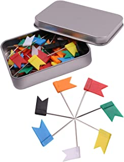 Tupalizy Decorative Plastic Flat Map Flag Push Pins, Assorted 7 Colors, Black, White, Red, Yellow, Green, Orange, Blue, 10 Pieces of each Color, 70 Pieces