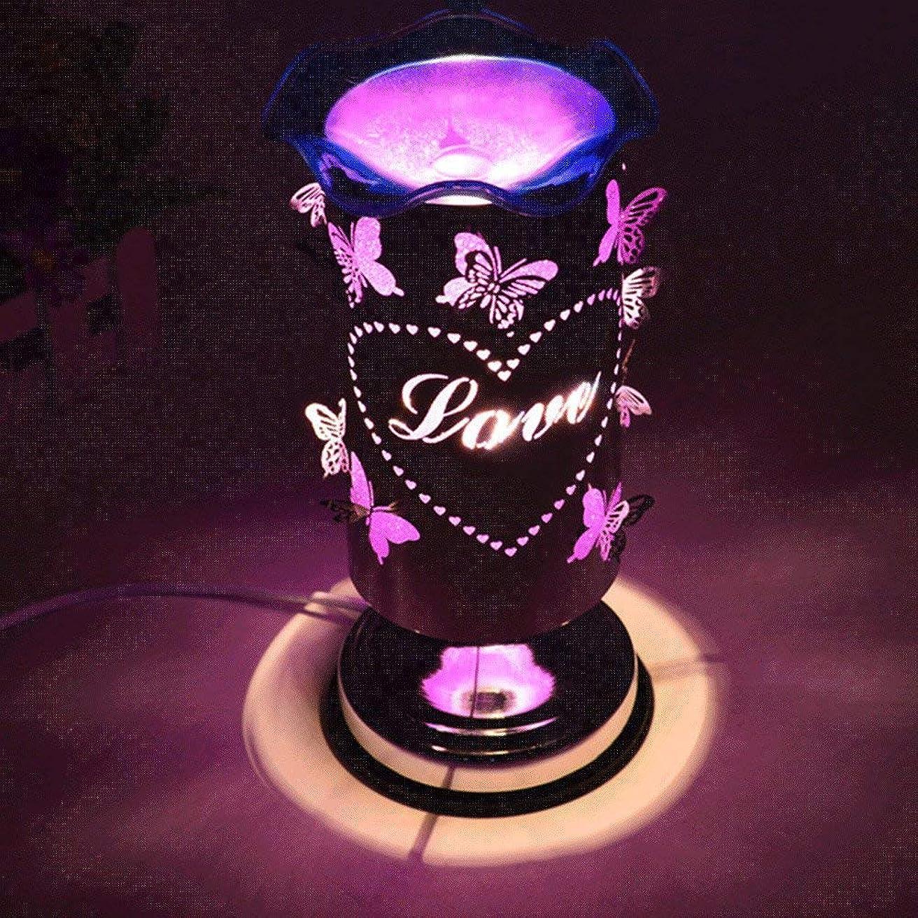 腹中傷入浴バタフライアロマランププラグイン調節可能なライトエッセンシャルオイルランプ香炉バーナーベッドサイドデスクランプロマンチックギフトアロマランプ