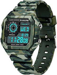 Men Military Camouflage Digital Watch, Mens Sports Rectangle Square LED Army Tactical Waterproof Watches Electronic