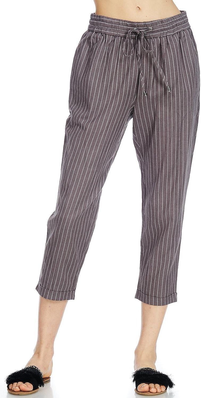Alexander + David A+D Womens Casual Linen Capri Loose Culotte Pants W Elastic Waist