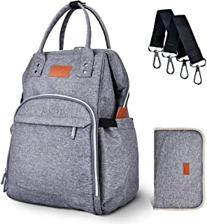 Diaper Bag Backpack, Multifunction Travel Backpack Nappy Unisex Baby Bags, Large Capacity, Stylish and Durable, Waterproof with extra gifts (2 stroller straps and 1 changing pad)