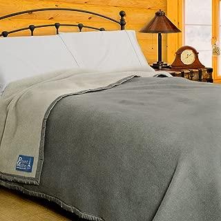 Poyet Motte Aubisque 500GSM Heavyweight 100-Percent Wool Blanket (Full/Queen, Grey/Lt Grey)