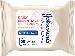 JOHNSON'S Cleansing Wipes Daily Essentials Extra-Sensitive All Skin Types Pack of 25 wipes