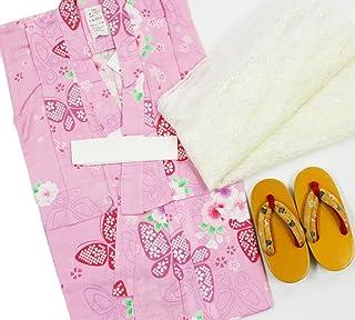 【女の子浴衣3点セット(100)】【ピンク地系 / 黄色のぼかし】兵児帯 下駄 3-4歳 ガールズ
