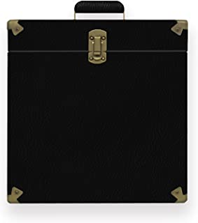 mbeat Vinyl Faux Leather Record Storage Carrier Case Store up to 30 Vinyl Records Vintage - Black