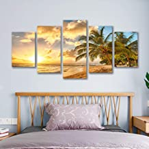 decalmile 5 Panel Wall Art Painting Beach Waves Palm Sunset Picture Printed on Canvas Modern Artwork Stretched and Framed Ready to Hang for Home and Office Decoration Decor