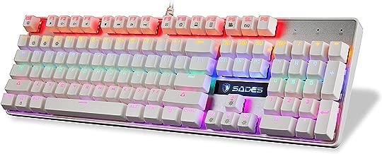 Sades K10 Wired USB 104 Keys Anti-Ghosting Gaming Keyboard (White)