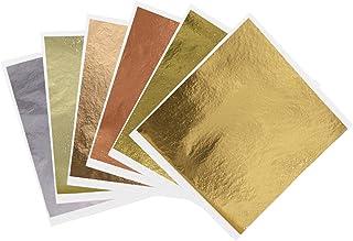 600 Sheets Imitation Gold Leaf Sheets Multipurpose - KINNO 6 Colors Gilding Paper Leaf for Arts, Renovation, Nail Art DIY,...