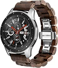 AIYIBEN Wood Watchband 22mm for Samsung Galaxy, 46mm Wooden Stainless Steel Watch Band Quick Release Strap Replacement Bracelet Wristband for Gear S3 (Walnut 22MM)