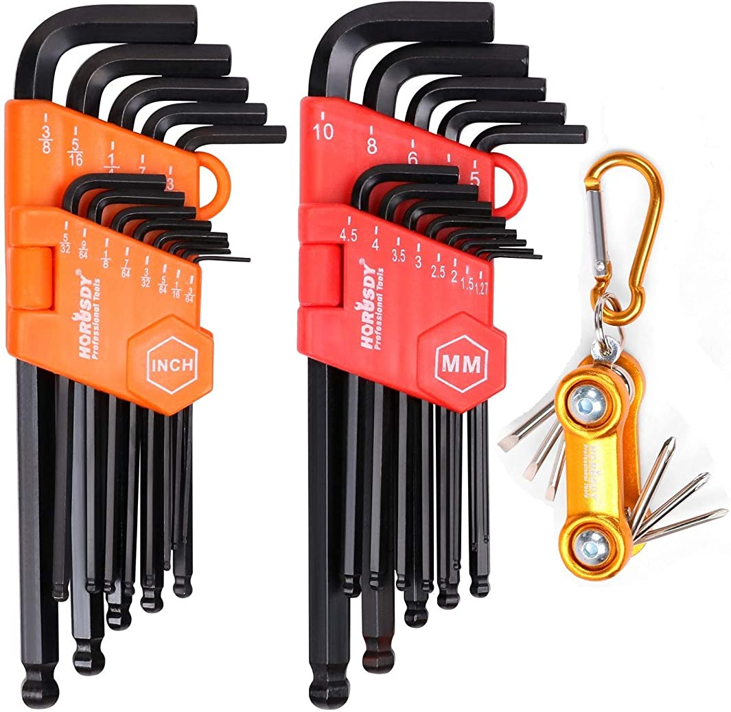 HORUSDY Allen Wrench Set, 32-Pieces Hex Key Set Long Arm Ball End, Inch/Metric and Mini Screwdriver Set - Best Unique Tool Gift for Men