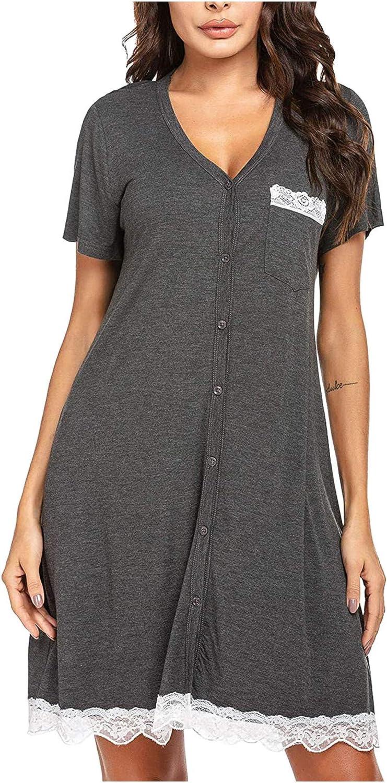 Women Short Sleeve Solid V-Neck Lace Pocket Sexy Top Sleep Dress NightdressSummer Petite Plus Size Maxi Dress Daily Wear