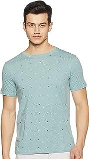 Amazon Brand - Symbol Men's Printed Regular Fit Half Sleeve Cotton T-Shirt (AW19TEE10_Blue Haze_L)