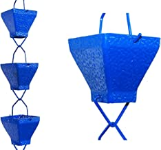 U-nitt 8-1/2 feet Rain Chain for Gutter: Aluminum Square Cup Blue Textured 8.5 ft Length #5517BLU
