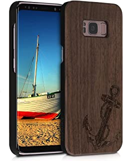 kwmobile Wood Case Compatible with Samsung Galaxy S8 - Non-Slip Natural Solid Hard Wooden Protective Cover - Vintage Anchor Dark Brown