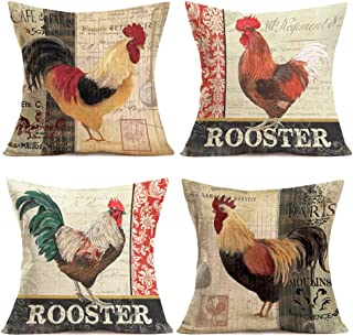 Qinqingo Throw Pillow Covers Vintage Farm Rooster Pillow Cases Cotton Linen Hen Cock Pattern Decorative Cushion Cover Couch Home Pillow Covers 18x18 Inch Set of 4 Square Pillowcase (BOG01)