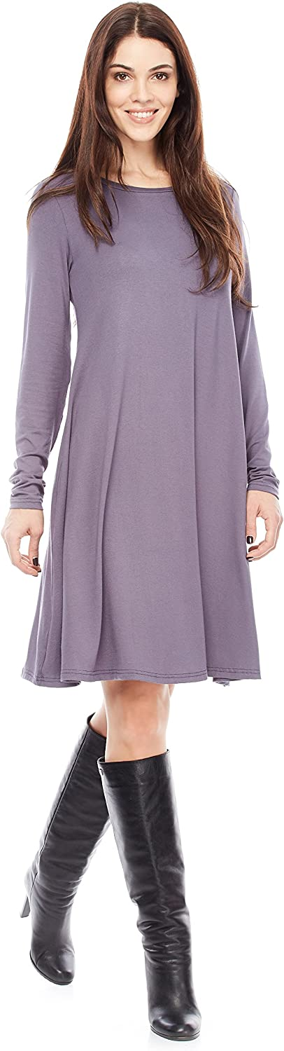 Certain Lady Women's Casual Long Sleeve Tunic Dress Pleated Loose Swing Round Neck Knee Length Dresses