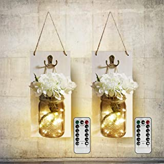 MorTime 2 pcs Waterproof Handcrafted Hanging Glass Mason Jar Sconces Wall Decor With 8 Different Functions LED Lights, Wooden Boards with White Hydrangea And Remote Control (2pc)