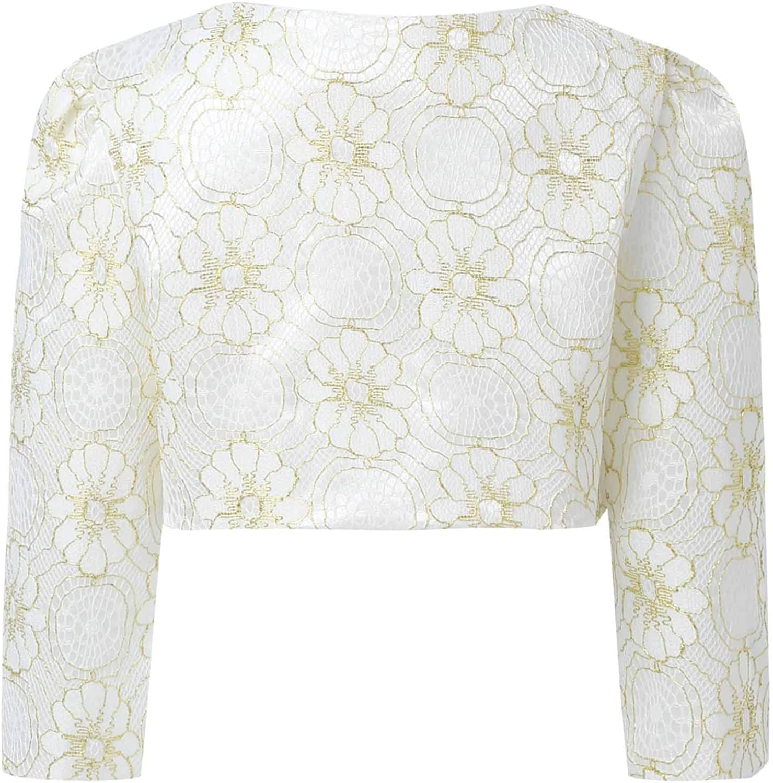 Oyolan Kids Girls Long Sleeves Satin Bolero Shrug Floral Bowknot Short Cardigan Princess Wedding Flower Girl Dress Cover up