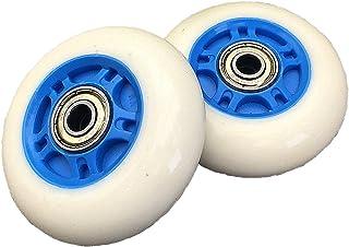 スケート ホイール ベアリング 交換用 ウィール PU耐摩耗 2ピース入り (白/青)