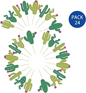 Supla 24 PCS Fiesta Bachelorette Baby Graduation Party Glitter Cactus Cupcake Toppers Cupcake Picks in Different Type and Different Green for Summer Party Taco Party Taco Decoration
