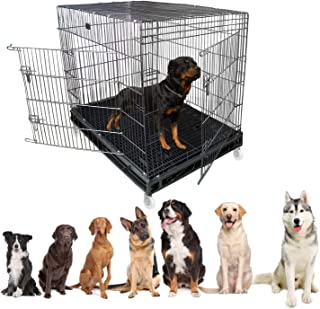 Jainsons Pet Products® Heavy Duty Dog Crate Strong Metal Large Dog Cage 49 Inch (49x36.5x53 in, Black)