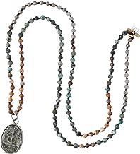 KELITCH Yoga Buddha Pendant Necklaces Y-Shaped Natural Stone Beaded Necklaces Statement Bracelets Mala Jewelry