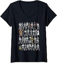 Womens Star Wars Group Sketch Line-Up V-Neck T-Shirt