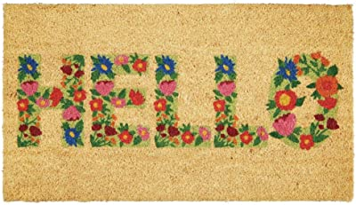 mDesign Rectangular Coir and Rubber Entryway Welcome Doormat with Natural Fibers for Indoor or Outdoor Use - Decorative Script Hello Design - Natural Black/Floral Print