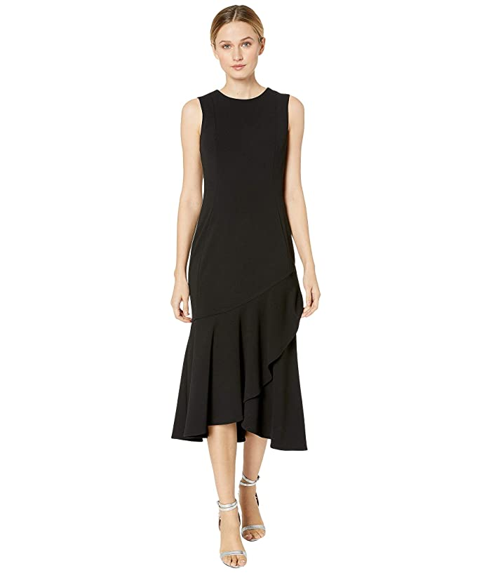 1920s Evening Dresses & Formal Gowns Calvin Klein Ruffle Hem Midi Dress Black Womens Dress $71.40 AT vintagedancer.com