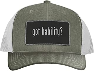 One Legging it Around got Hability? - Leather Black Metallic Patch Engraved Trucker Hat