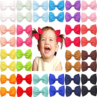 40pcs Baby Girls Hair Bows In Pairs Grosgrain Ribbon Bows Alligator Hair Clips Barrettes Pigtail Bows for Girl Teens Kids Babies Toddlers