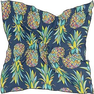 XLING Fashion Square Scarf Vintage Tropical Fruit Pineapple Lightweight Sunscreen Silk Scarves Muffler Hair Wrap Headscarf Neckerchief for Women Men
