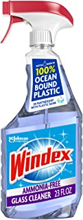 Windex Ammonia-Free Glass and Window Cleaner Spray Bottle, Bottle Made from 100% Recycled Plastic, Crystal Rain Scent, 23 ...